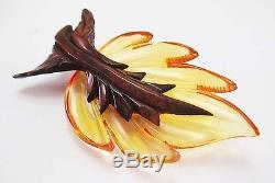 Vintage Bakelite Wood Leaf Brooch Bakelite Pins Book Juice Hand Carved Pin