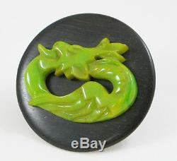 Vintage Bakelite Wood Pin Brooch rare Art Deco carved dragon green marble