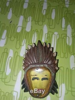 Vintage Bakelite and Wood Indian Chief Head Pin Brooch