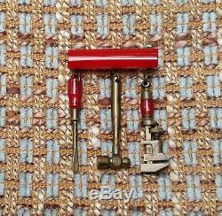 Vintage Bakelite brooch/pin dangling tools hammer, screwdriver, wrench, 1940s