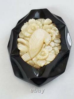 Vintage Black Bakelite Carved MOP Flower Bird Pin