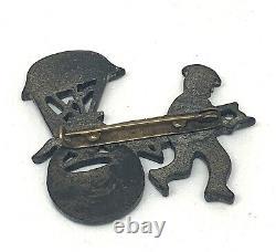 Vintage Black Bakelite Rickshaw Pin Brooch