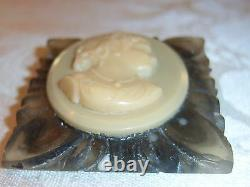 Vintage Book Piece Bakelite Reverse Carved Lucite Cameo Brooch Pin