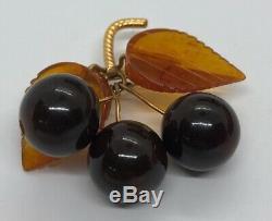 Vintage Brooch Pin Bakelite Cherry Mid Century Modern Leaf Flower Brown