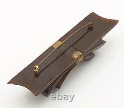 Vintage Brown Bakelite Bow Ribbon Brooch Pin Carved Costume Jewellery Jewelry