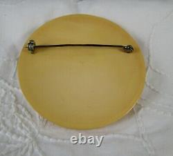 Vintage Butterscotch Bakelite & Carved Wood Clamper Bracelet and Pin Brooch