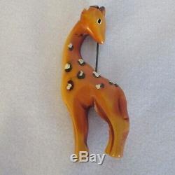 Vintage Butterscotch Bakelite Giraffe Pin Brooch