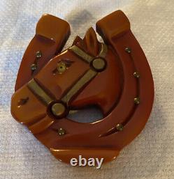 Vintage Butterscotch Bakelite Horse In Horseshoe Pin