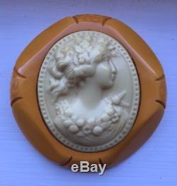 Vintage Butterscotch Carved Bakelite Cameo Brooch Pin Immaculate