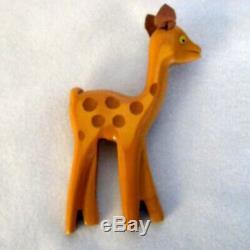 Vintage Butterscotch Martha Sleeper Bakelite Deer Pin Brooch