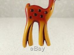 Vintage Butterscotch and Cherry Bakelite Deer Brooch Pin