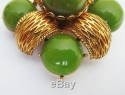 Vintage Cadoro Gold Plated Green Marbled Bakelite Cabochon Brooch Pin