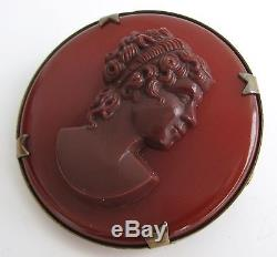 Vintage Carnelian Bakelite Cameo Pin Brooch 925 Sterling Silver Roman Goddess