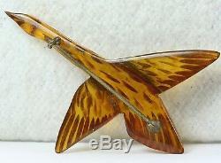 Vintage Carved Apple Juice Bakelite Canadian Goose Geese Bird Pin Glass Eye