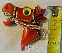 Vintage Carved Bakelite Big Googly Eye Figural Horse Head Equestrian Brooch Pin