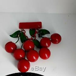Vintage Carved Bakelite Cherry Brooch Stunning Pin 1930's