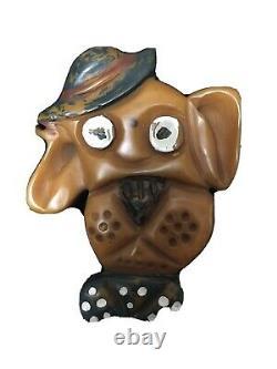 Vintage Carved Bakelite Doggie / Pooch Brooch / Pin
