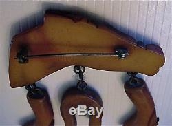 Vintage Carved Bakelite Horsehead Pin/brooch