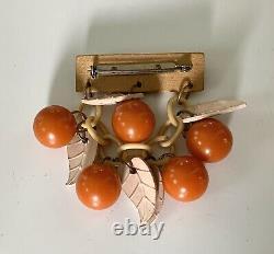 Vintage Carved Bakelite Orange Fruit Brooch Pin