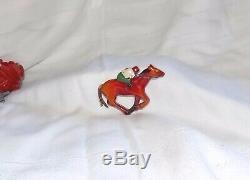 Vintage Carved Bakelite Racing Horse And Jockey Pin Red Wash