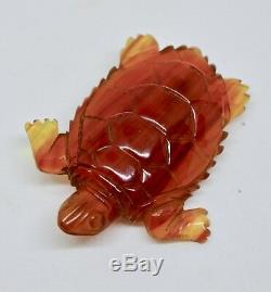 Vintage Carved Bakelite Turtle Brooch, Bakelite Brooch, Figural Turtle Brooch Pin
