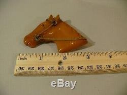 Vintage Carved Butterscotch Bakelite Catalin Horse Animal Brooch Glass Eye Pin