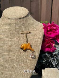 Vintage Carved Butterscotch Bakelite Figural Elephant Pin / Dangling Brooch