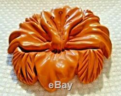 Vintage Carved Butterscotch Yellow Bakelite Large Round Flower Brooch Pin Tested