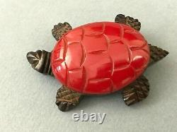 Vintage Carved Cherry Red Bakelite on Rosewood Mount Turtle Brooch Pin 2 1/8'