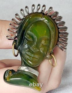 Vintage Carved Green Bakelite African Princess Exotic Woman Brooch Pin