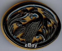 Vintage Carved Green Bakelite Bird On Brass Pin Brooch