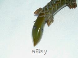 Vintage Carved Green Bakelite Lizard Brooch Pin Tested