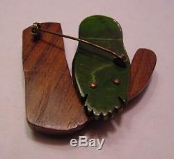 Vintage Carved Green Bakelite OWL in Carved Wooden Tree Brooch Pin WoW