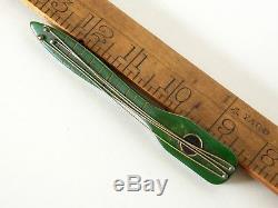 Vintage Carved Green Bakelite Stringed Musical Instrument Lute Brooch Pin