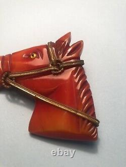 Vintage Carved Horse Head Bakelite with Bridle Brooch Pin