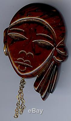 Vintage Carved Marbled Bakelite Lady With Earring Face Pin Brooch