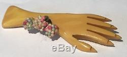 Vintage Carved Marbled Cream Corn Bakelite Hand With Corsage Pin Brooch