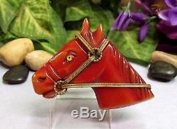 Vintage Carved Overdyed Bakelite Horse Head Figural Pin Brooch