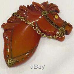 Vintage Carved Overdyed Red Butterscotch Bakelite Horse Pin Brooch 3 Glass Eye