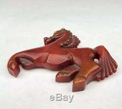 Vintage Carved RED Bakelite Equestrian Horse Brass Rivets Glass Eye Brooch Pin