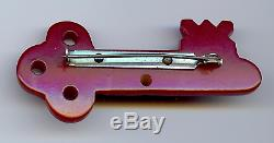 Vintage Carved Red Bakelite Key Pin Brooch (for Macarthur Heart)