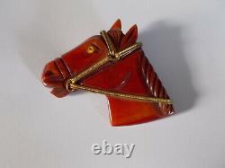 Vintage Carved Red Orange Brown Bakelite Handsome Horse Head Pin Brooch