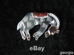 Vintage Carved, Reversed Painted Lucite Bakelite Era Bucking Horse Bronc Pin