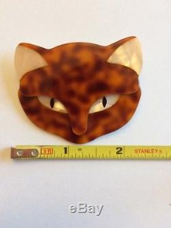Vintage Cat Face Pin Brooch Agatha Paris Lea Stein Designer Tortoiseshell Print