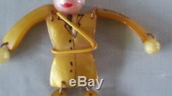 Vintage Celluloid Bakelite Articulated Soldier Figural Costume Pin Brooch Nr