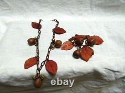 Vintage Celluloid Bakelite Leaves Hazelnuts Pin and Necklace Set