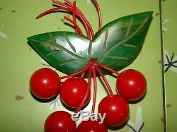 Vintage Cherry Red BAKELITE Carved Dangling Cherries Green Leaf Brooch Pin