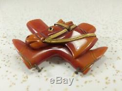 Vintage Cherry Red Bakelite Horse Head and Cowboy Boots Brooch Pin with Brass