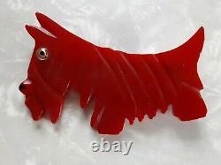 Vintage Cherry Red Bakelite Scottie /Schnauzer Dog Pin With Glass Eye