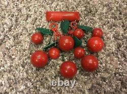Vintage Cherry Red Carved Cherries Bakelite Pin/ Brooch with dangling